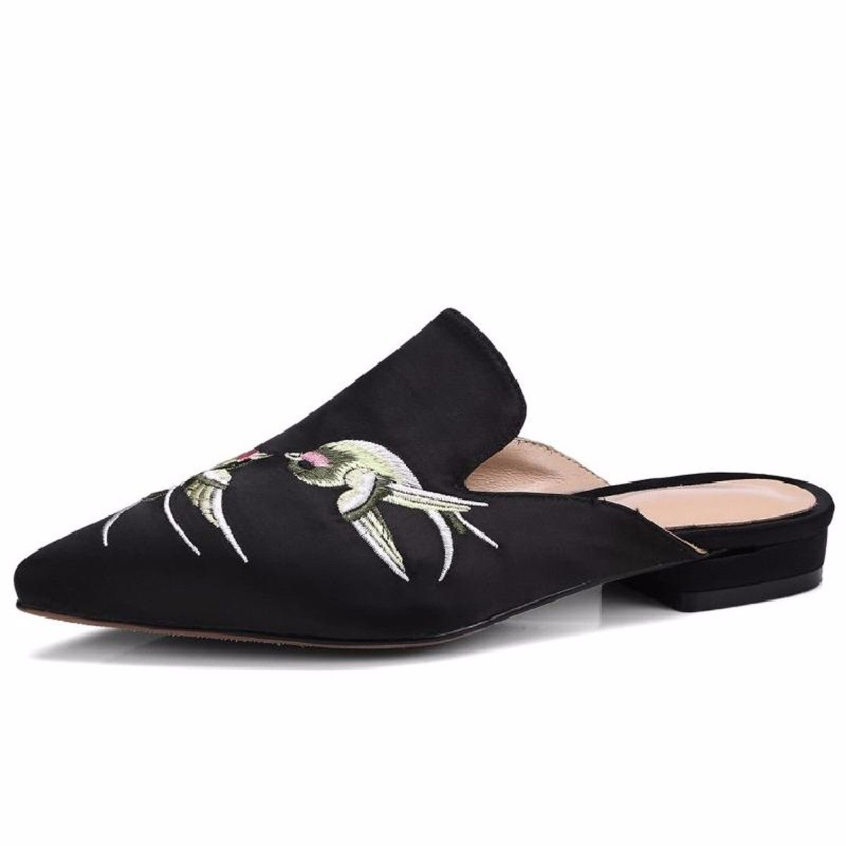 KPHY Bereits Im Sommer Schuhe Mode Sexy Sexy Sexy Satin Stickereien Damenschuhe Baotou Komfortable Wild Flachen Boden Coole Schuhe. 4ec5c2