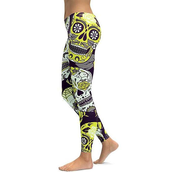 Nuofengkudu Mujer Calavera Estampados Leggings Elasticos Mallas: Amazon.es: Ropa y accesorios