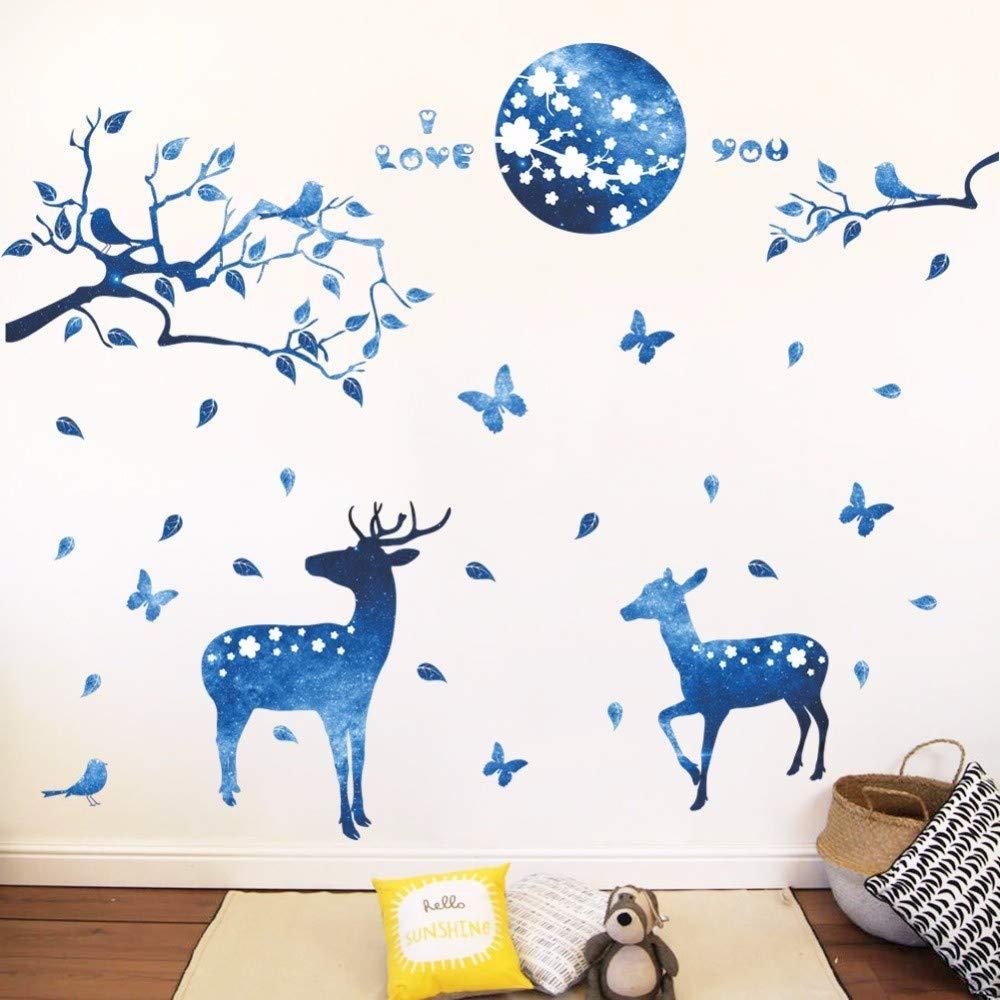 XCGZ Pegatinas de pared Etiqueta De La Pared Noche De La Luna Azul Peque/ños Ciervos De Fondo Calcoman/ía Mural Decoraci/ón del Hogar DIY Art Poster