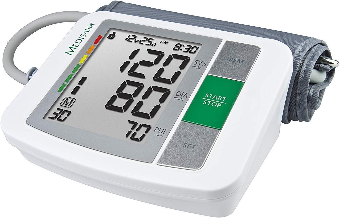 Medisana BU 510 - Tensiómetro para el brazo, pantalla de arritmia, escala de colores de los semáforos de la OMS, para una medición precisa de la tensión arterial y del pulso con función de memoria