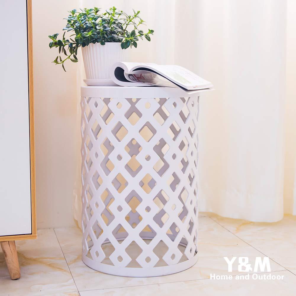 Y&M Round Metal Garden Stool,Side Table for Indoor Outdoor Use,Plant Stand,Set of 3 (White) by Y&M (Image #3)