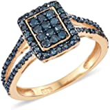 Blue Diamond Silver 14ct Gold Plated Bridal Engagement Anniversary Cluster Ring