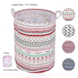 Laundry Basket For Dorm, Aowin Collapsible Waterproof Dirty Clothes Hamper with Large Size 13.7x 17.7inches for Home, Office, Closet, Bedrooms, Bathrooms, College Dorm (pink(17.7))