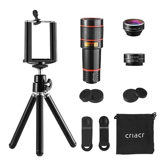 ad0189ec1 Criacr Phone Camera Lens, 12X Zoom Lens, Fisheye Lens, Macro Lens and Wide