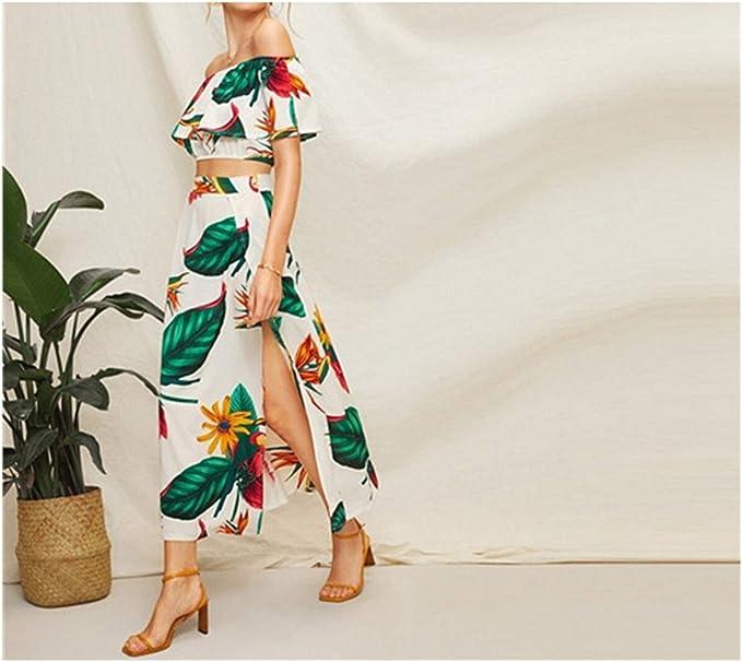 Conjunto de Dos Piezas de Blusa con Estampado Tropical y Falda ...