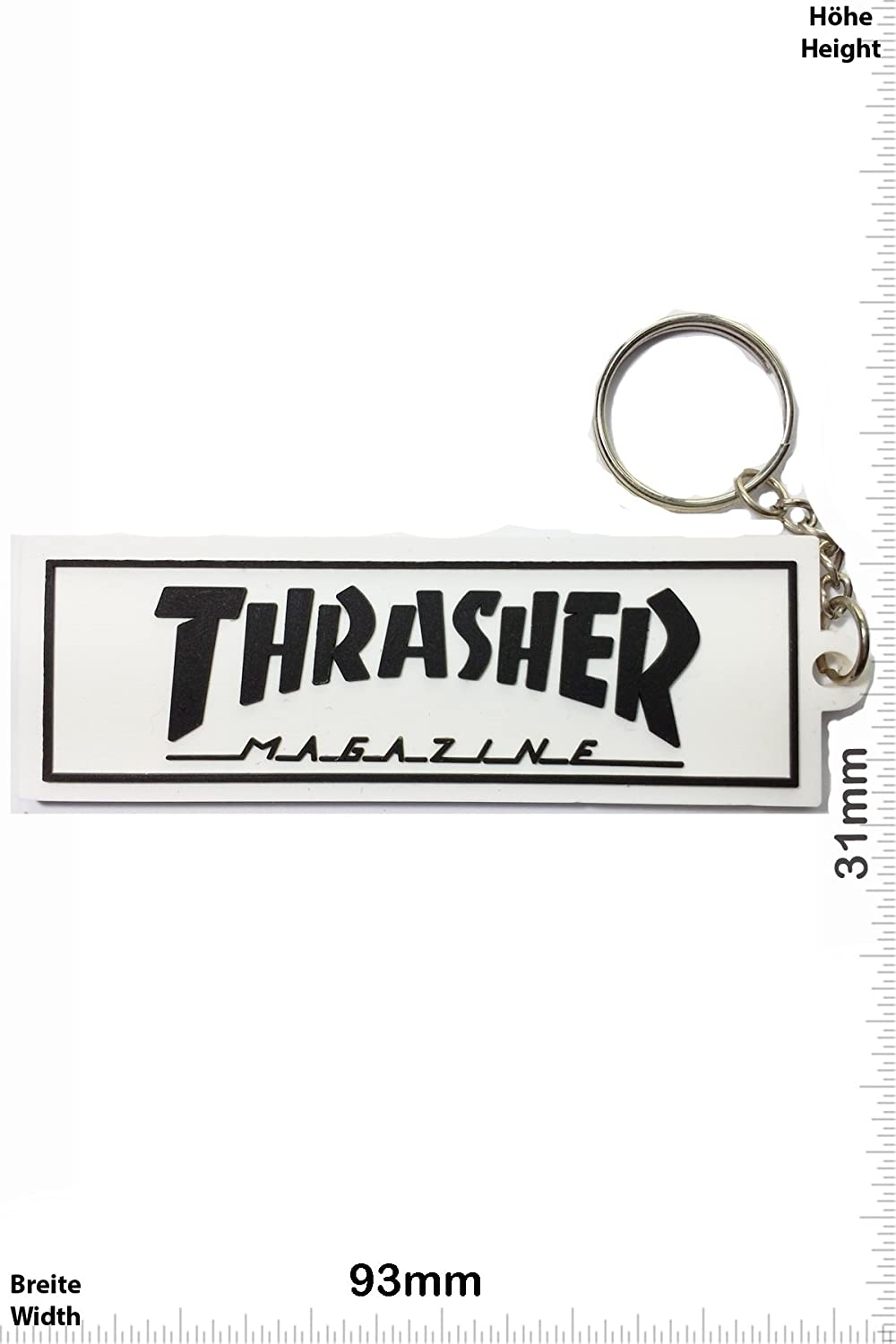Keychains Porte-clés - Thrasher - white - Streetwear - Sport - Skater - Extremsport - Key Ring - Kautschuk Rrubber Keyring - perfect also bags, wallets or briefcase - Give away