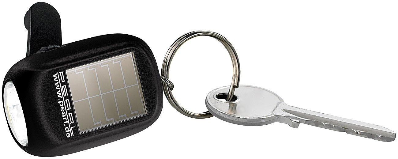 PEARL Kurbellampe: Mini-Solar-LED-Taschenlampe mit zusätzlichem Dynamo & Schlüsselring (Taschenlampe mit Kurbel)