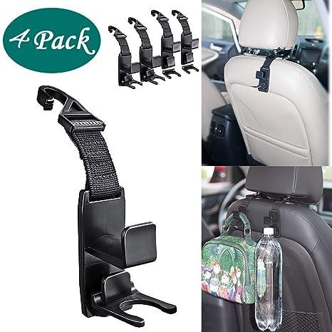 SAVORI Auto Hooks Bling Car Hangers Organizer Seat Headrest Hooks Strong and Durable Backseat Hanger Storage Universal for SUV Truck Vehicle 2 Pack Black