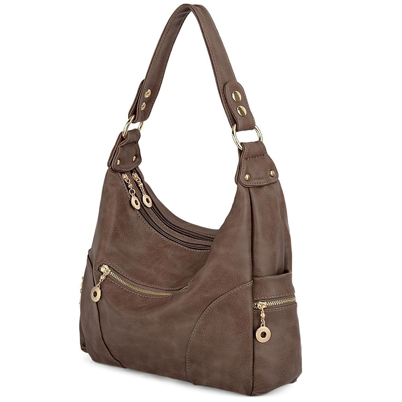 UTO Women Handbag PU Leather Purse Hobo Style Multi Pocktets Shoulder Bag