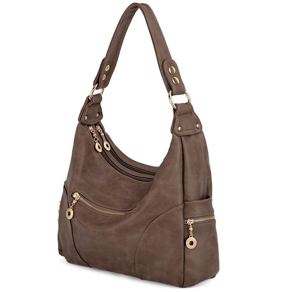 UTO Women Handbag PU Leather Purse Hobo Style Multi Pocktets Shoulder Bag Khaki