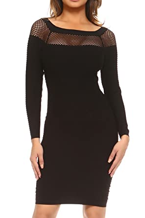 ddd00333f685 ICONOFLASH Women's Long Sleeve Textured Fishnet Detail Bodycon Dress (Black,  Small)