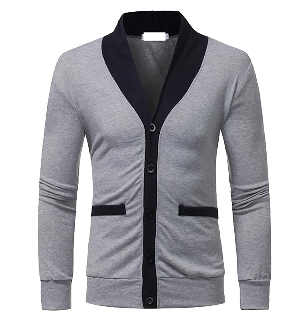 CRYYU Mens Casual V-neck Slim Fit Contrast Button Knit Cardigan with Pocket