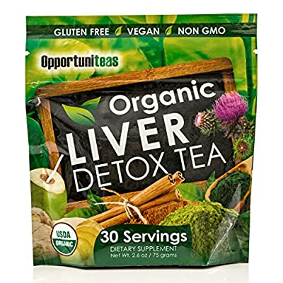 Organic Liver Detox Tea | Matcha Green Tea + Milk Thistle + Spirulina + Coconut Water + Cinnamon + Ginger | Cleanse Powder Supplement | Gluten Free + Vegan + Non GMO | 30 Servings