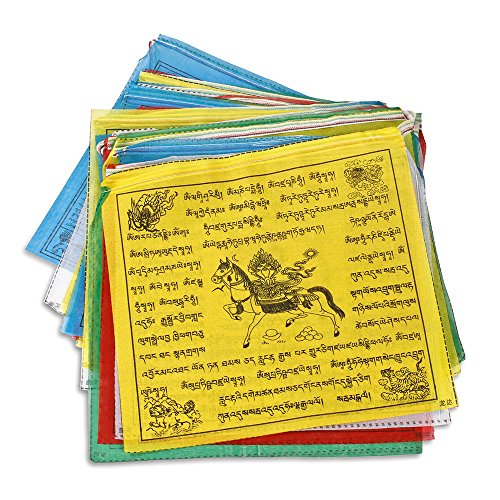 Maha Bodhi Tibetan Tranquil Prayer Flags - 12x12 Inches Wind Horse and Kalachakra Lungta New Set of Colors Flag- Pack of - Tibetan Prayer Make Flags