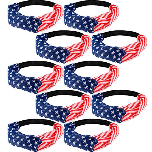 10 Pieces American Flag Headband Red White Blue Patriotic Hair Bands Bandana Headband with Stars and Strips Pattern for Women Girls