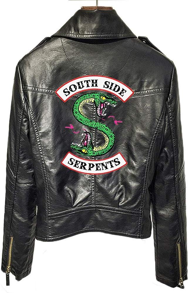 StMandy Chaqueta Riverdale Chaqueta de Serpientes roja para niñas Chaqueta de Motociclista Southside Black Leather Jacket-1
