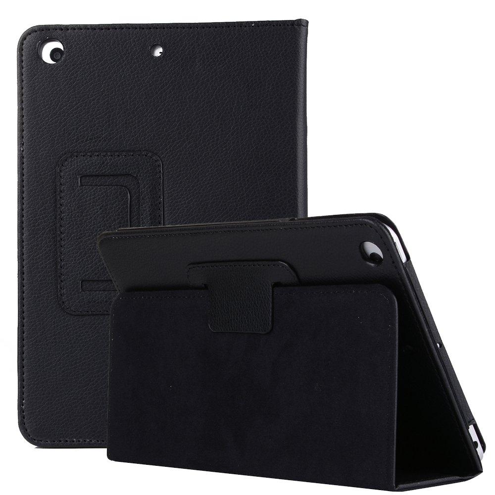 iPad Air 2 Case, Fold Stand PU Leather Protective Smart Folio Flip iPad Case cover with Auto Sleep wake Function Case Cover for Apple iPad Air/iPad Air 2/2017 New iPad 9.7 Inch-Black JiiJian