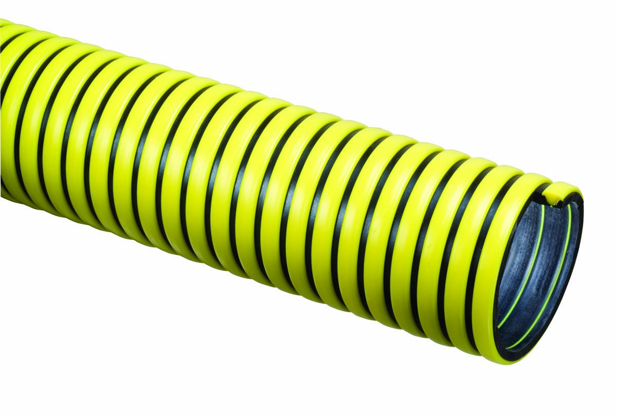 Tigerflex TY Series EPDM Tiger Yellow Suction Hose with Polyethylene Helix, 50 PSI Max Pressure, 2 inches ID, 100 feet Length