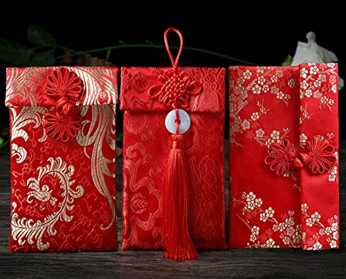 Silk Red Envelopes,3pcs HongBao Card Envelopes Gift Wrap Bags Red Lucky Money Pockets for New Year,Spring Festival,Birthday and Wedding (Wedding Jade)