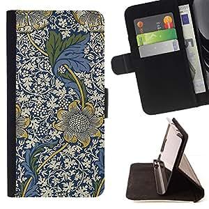 For Samsung ALPHA G850 Case , Azul Diseño floral Flores blancas- la tarjeta de Crédito Slots PU Funda de cuero Monedero caso cubierta de piel