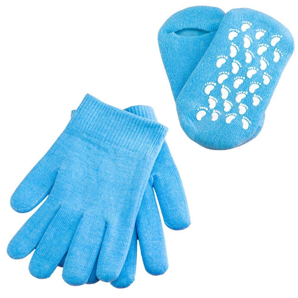 Spa Gel-Socken + Handschuhe, Supertop feuchtigkeitsspendende Spa-Gel-Socken Handschuhe Whitening Beauty wiederverwendbar für Cracked Heels Hand Skincare One Size-Pink