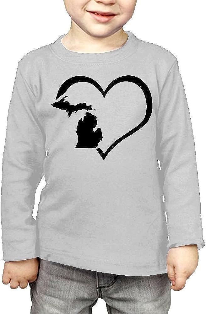 Baby Boys Kids Love Heart Michigan State Flag Map ComfortSoft Long Sleeve Tee