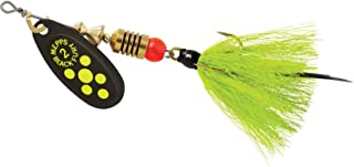 product image for Black Fury In-Line Spinner, 1/6 oz, Dressed Treble Hook, Chartreuse Dot Blade with Gray & Chartreuse Tail