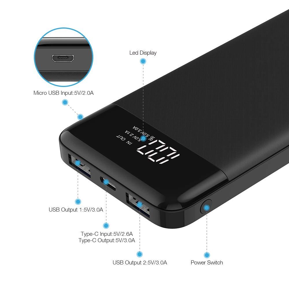 Charmast Batería externa con 3 puertos de salida para Nintendo ...
