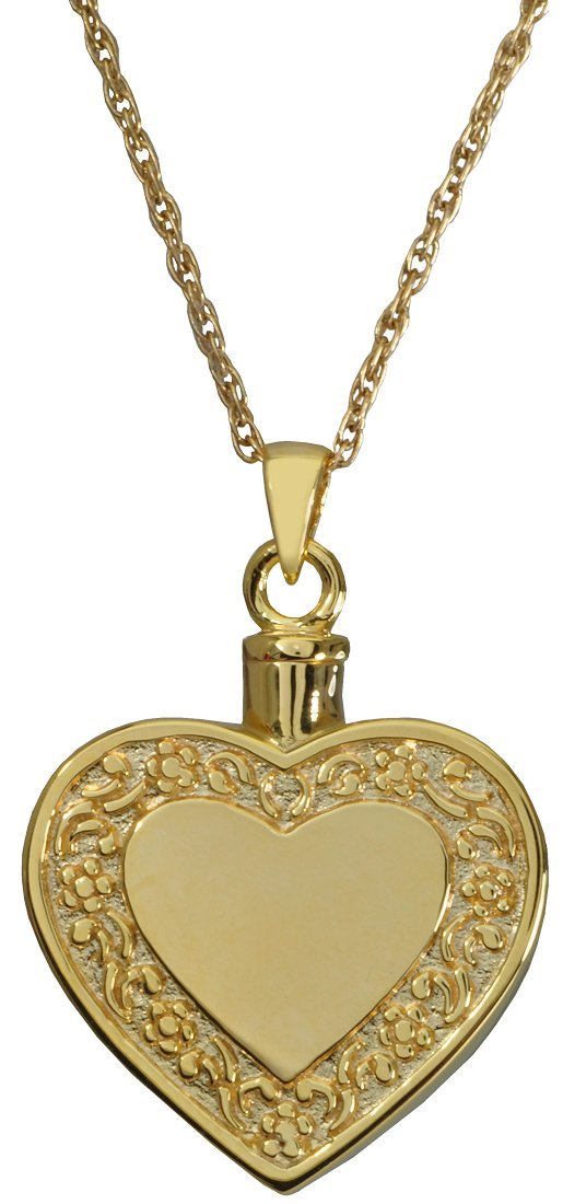 gold-Plated Sterling Silver Memorial Gallery 3058-bgp Rimmed Heart 14K gold Sterling Silver Plating Cremation Pet Jewelry