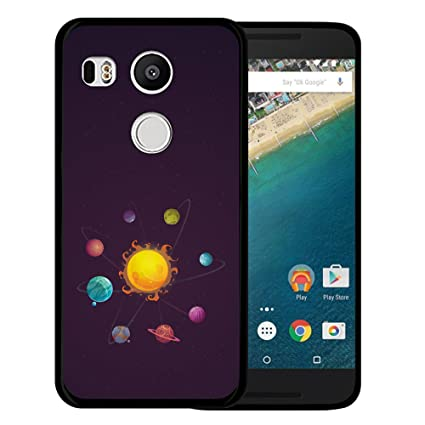 WoowCase Funda Nexus 5X, [Nexus 5X ] Funda Silicona Gel Flexible Sistema Solar Alien Planetas, Carcasa Case TPU Silicona - Negro