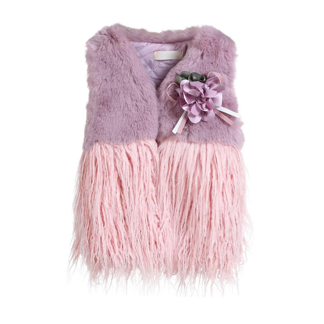 Fineser TM Baby Girl Autumn Winter Faux Fur Open Front Waistcoat Kids Thick Splice Waist Outwear Clothes (Purple, 5T)