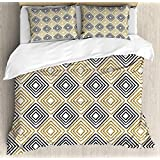 Modern Duvet Cover Set Full Square Shaped Lines with Inner Gold Yellow Bands Minimalist Bohemian Design Print Bedding Set 4 Piece Lightweight Bed Comforter Covers Includes 2 Pillow Shams Black White