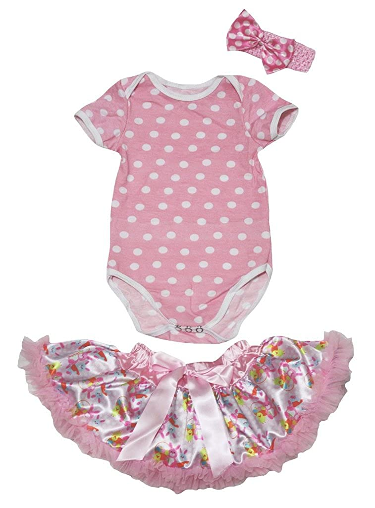 Petitebella Plain Pink White Dots Romper Pink Easter Rabbits Baby Skirt Nb-12m