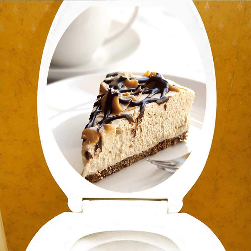 Amazon.com: Waterproof self-Adhesive Caramel Chocolate Cheesecake a Cup Coffee Toilet Seat Vinyl Art Stickers W14 x L14: Home & Kitchen