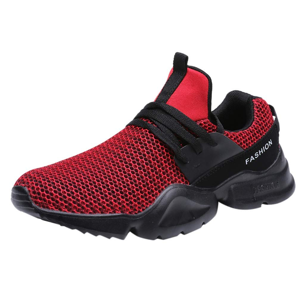 High Top Sneakers for Men ✔ Mesh Breathable Men Sneakers Running Shoes Fashion Sports Sneakers Red