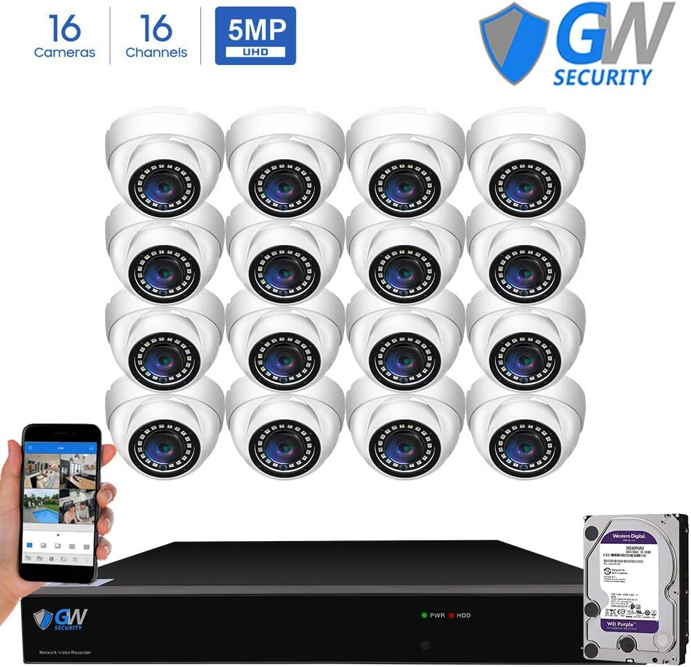 GW Security 16 Channel 4K NVR 5 Megapixel H.265 Security Camera System, 16 Built-in Microphone Audio Recording HD 1920P IP PoE Dome Cameras, QR-Code Connection
