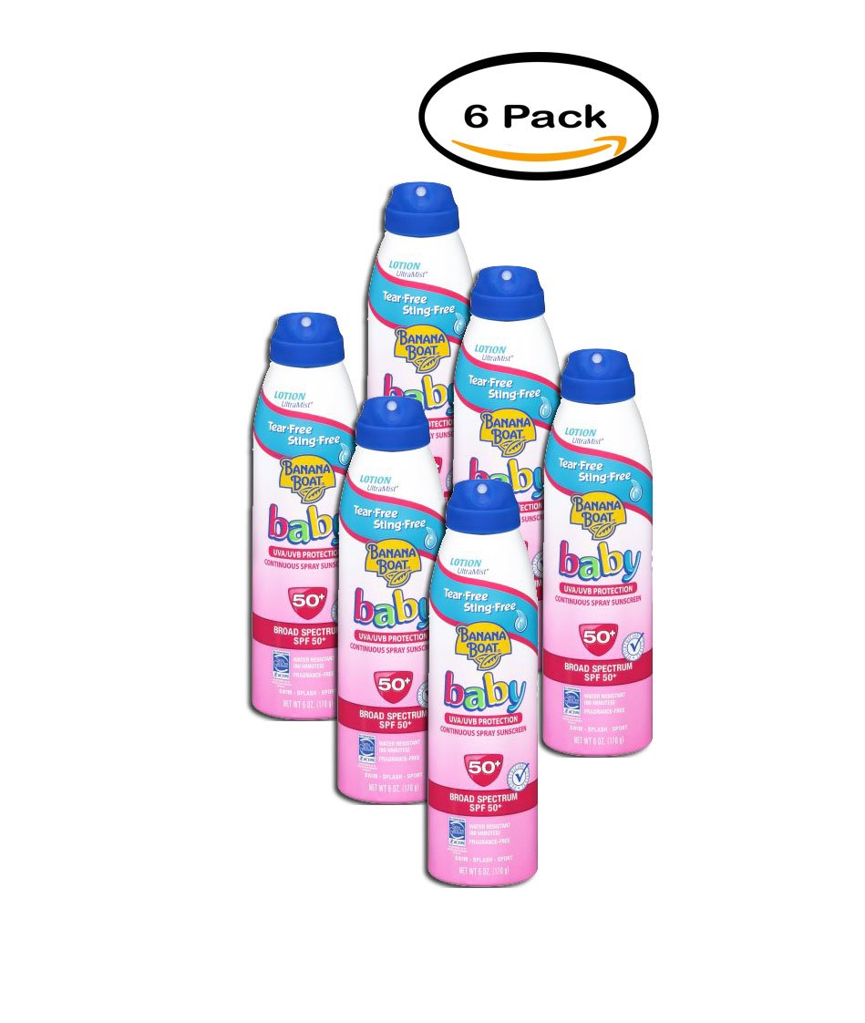PACK OF 6 - Banana Boat Baby Ultra Mist Continuous Spray SPF 50 Sunblock, 6 oz