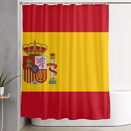 Jacklee Flag of Spain Cortina de Ducha con Ganchos, Duradera ...