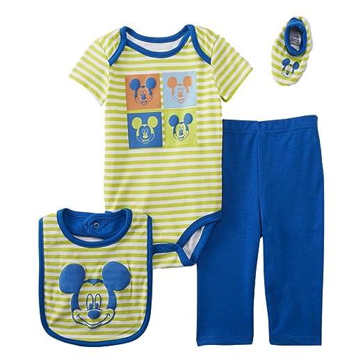 aaccf18b9c66 Amazon.com  Disney Baby Infant Boys 4-Piece Green   Blue Mickey ...