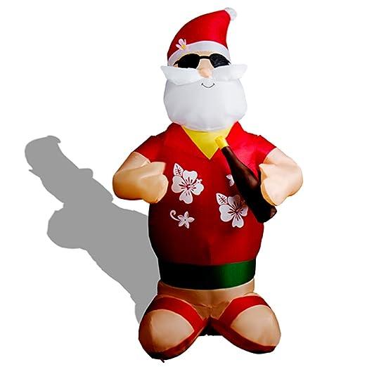 CCLIFE Muñeco hinflable de Papá Noel inchable LED, exterior, iluminación navideña navidad decoracion, Color:Rojo009-120cm