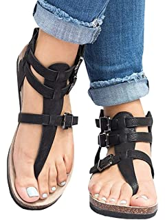 034a1c4cb234 Ofenbuy Womens Strap Gladiator Sandals Ankle Flats Roman Thong Flip Flop Summer  Shoes