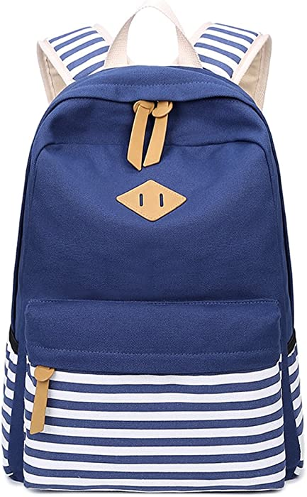 Amazon.com   Abshoo Causal Canvas Stripe Backpack Cute Lightweight ... 77fd261918