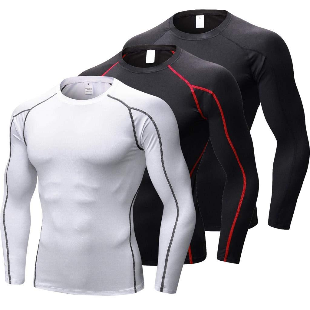 T-Shirt Collant de Sport Hommes pour Fitness Gym Course VERTAST Ensemble de 3 T-Shirt de Compression /à Manches Longues