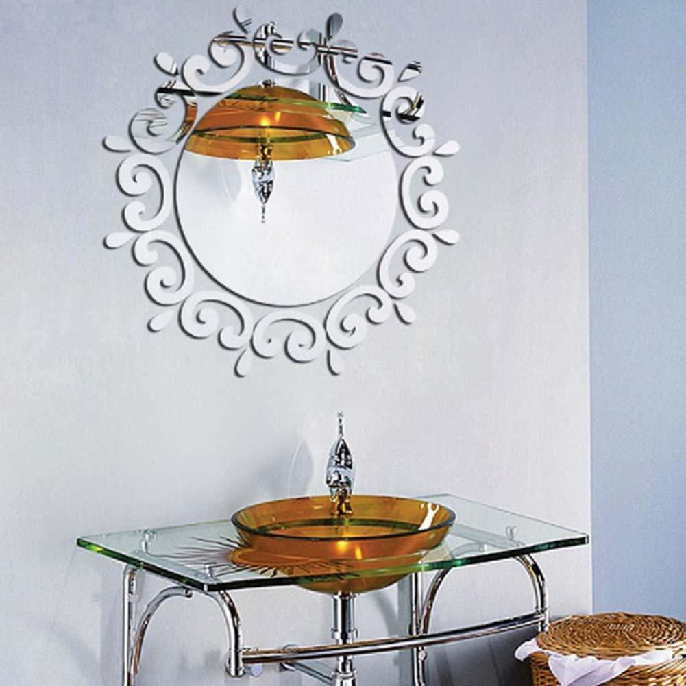 Autocollant de Miroir de Plafond dentr/ée 1#Argent Vigne d/écorative de Fleur de shabillant jusqu/à lart Mural de Miroir de Vinyle de d/écoration Murale de Plafond