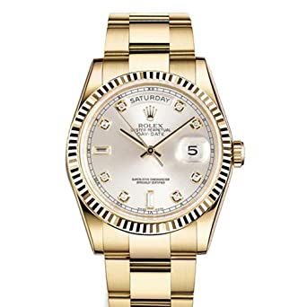 Rolex Day Date 36mm Silver Dial 18k Yellow Gold President Men S Watch 118238