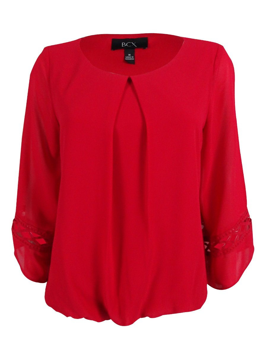 BCX Juniors' Red Bell-Sleeve Top Size M