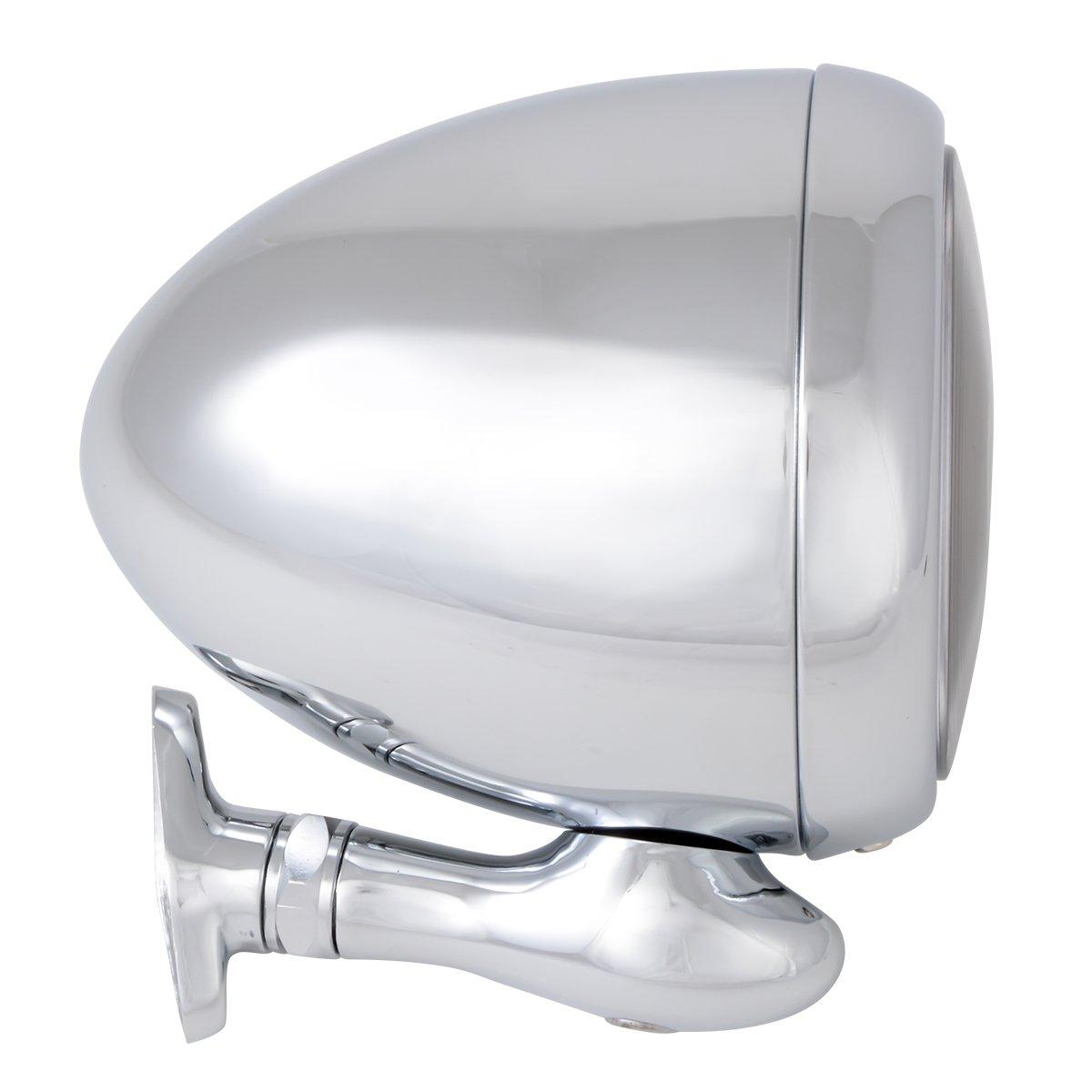 KNS Accessories 8153 Chrome 5 Diameter Teardrop Dummy Spot Light with Clear Plastic Lens