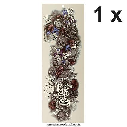 Tatuaje de brazo XXL – Veritas Aequitas Calavera Paloma Reloj – Multicolor Brazo Pierna Cuerpo Piel