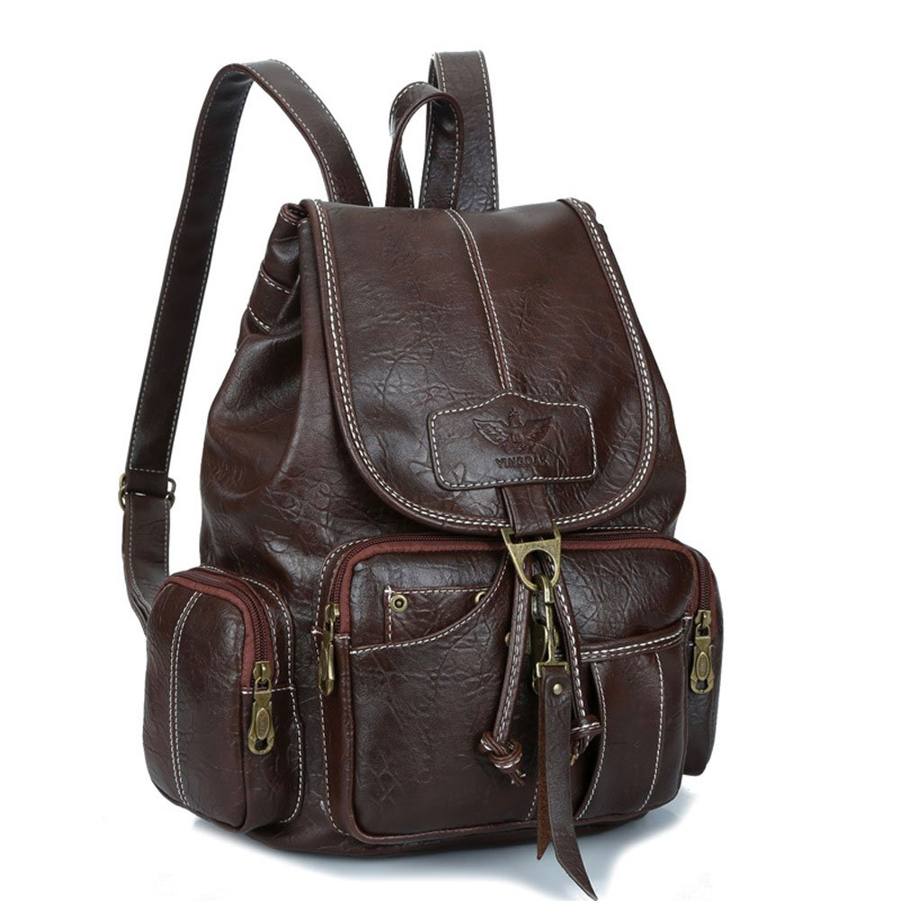 Womens New Fashion Backpack Vintage Style Waterproof Leather Backpack Purse for Girls Dark Brown