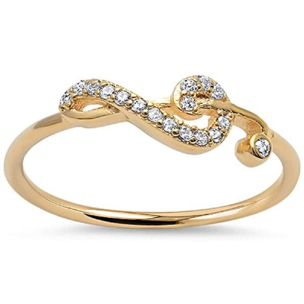 CloseoutWarehouse Cubic Zirconia Sideway Swirl Music Note Ring Yellow Gold-Tone Plated Silver Size 13